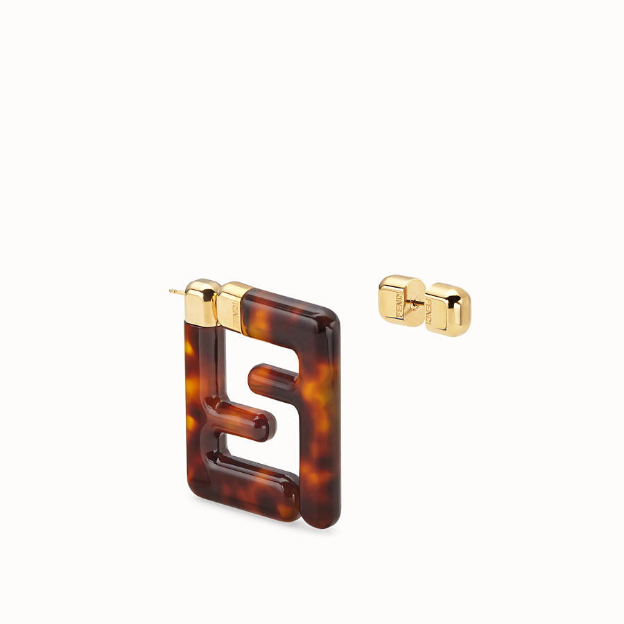 FENDI FF EARRINGS SMALL - Brown plexi earrings - view 2 detail