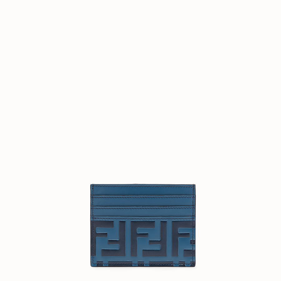 FENDI CARD HOLDER - Blue leather cardholder - view 1 detail