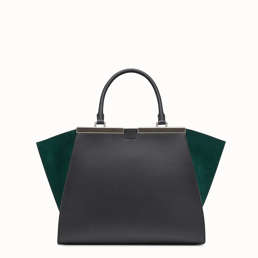 FENDI 3JOURS - Black and green leather shopper bag - view 3 detail