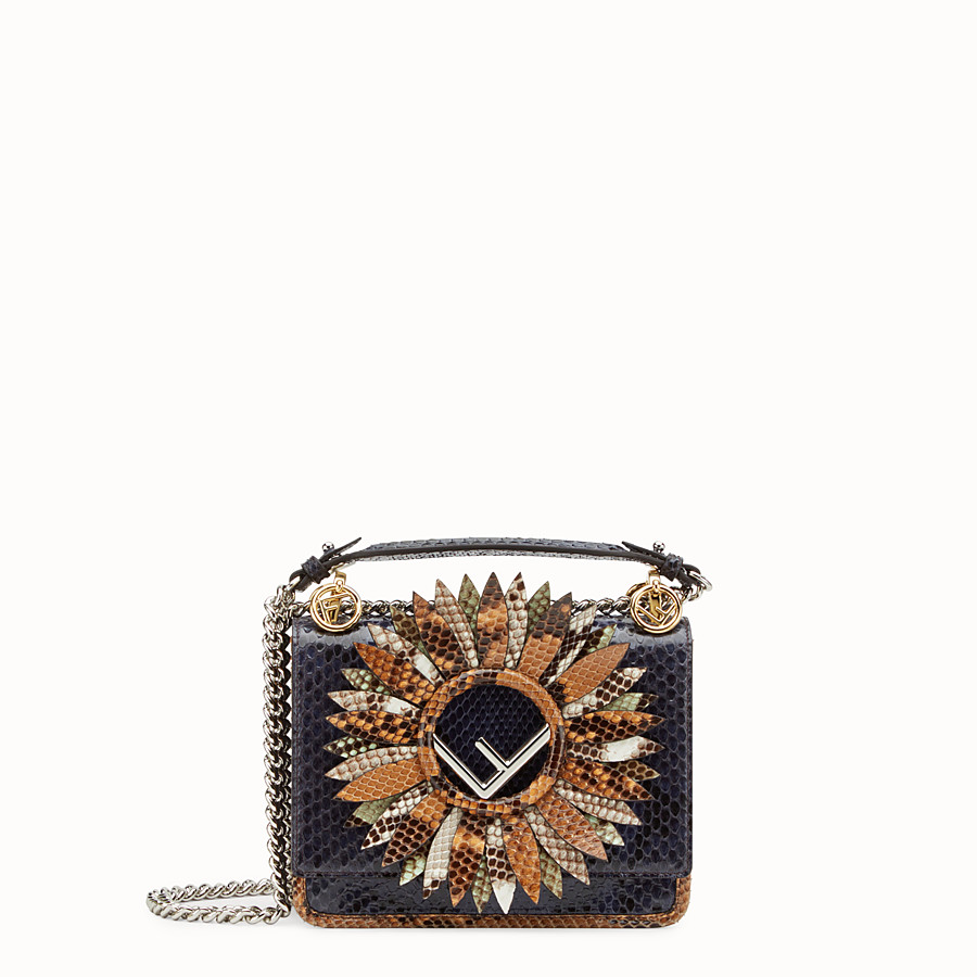 FENDI KAN I LOGO SMALL - Blue python mini-bag - view 1 detail