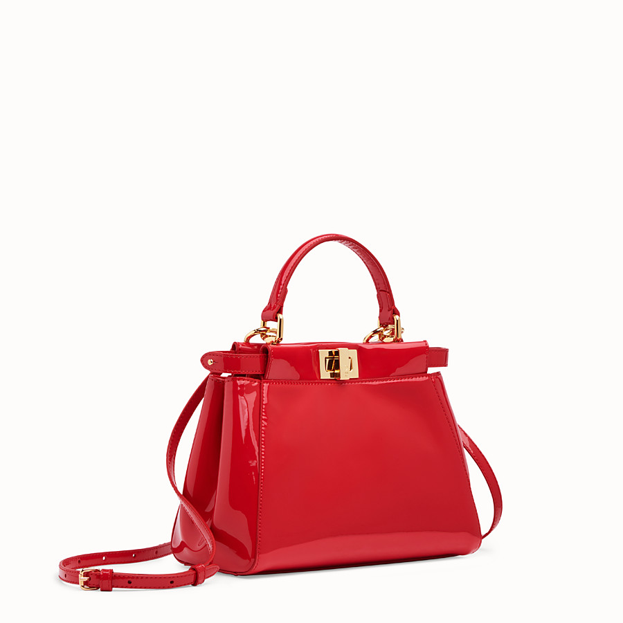 FENDI PEEKABOO ICONIC MINI - Red patent leather bag - view 3 detail