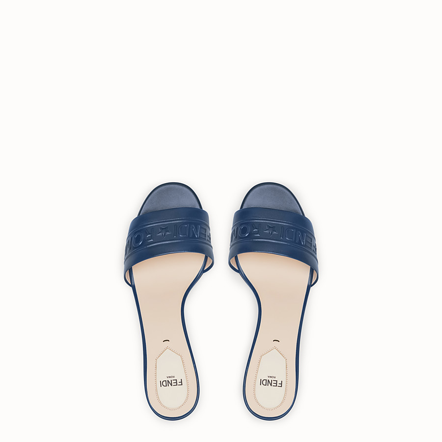 FENDI SANDALS - Blue leather slides - view 4 detail