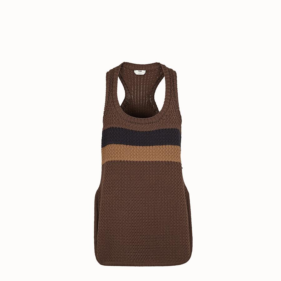 FENDI TOP - Top in cotone marrone - vista 1 dettaglio