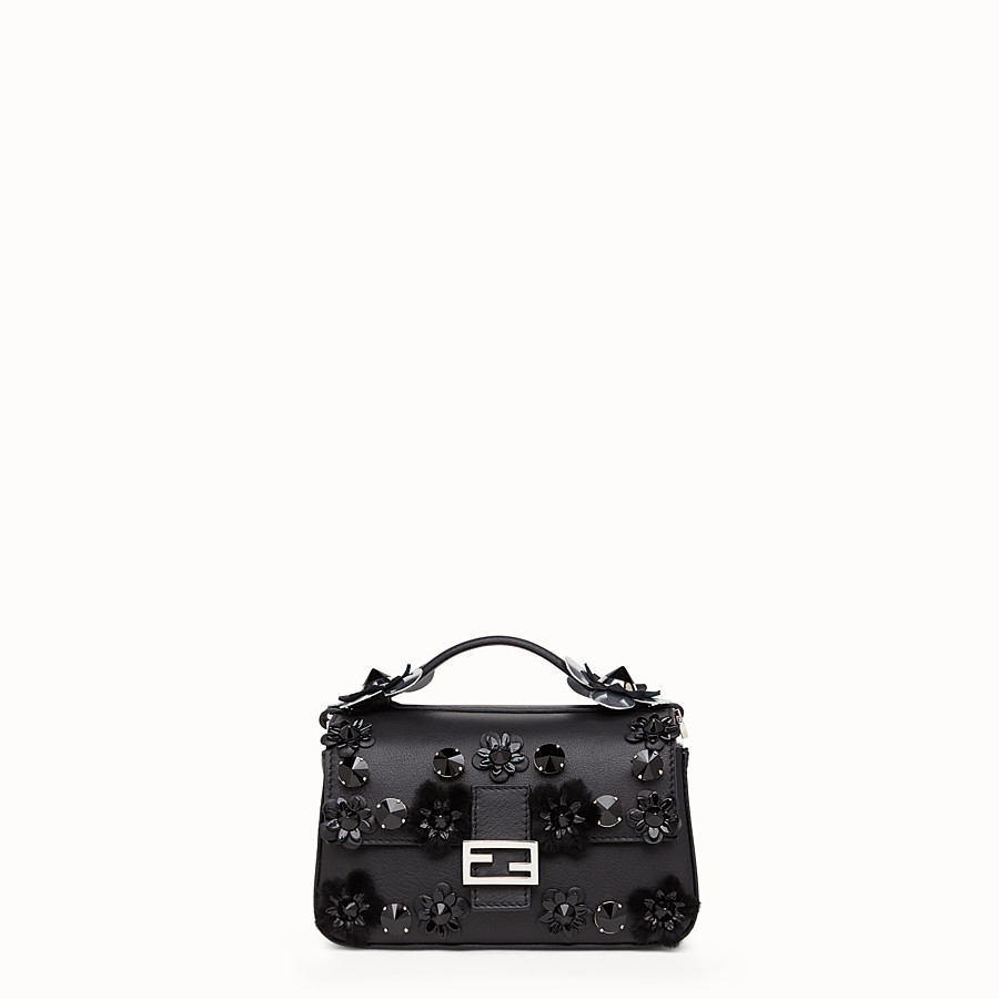 FENDI DOUBLE MICRO BAGUETTE - Microbag in black and blue leather - view 1 detail
