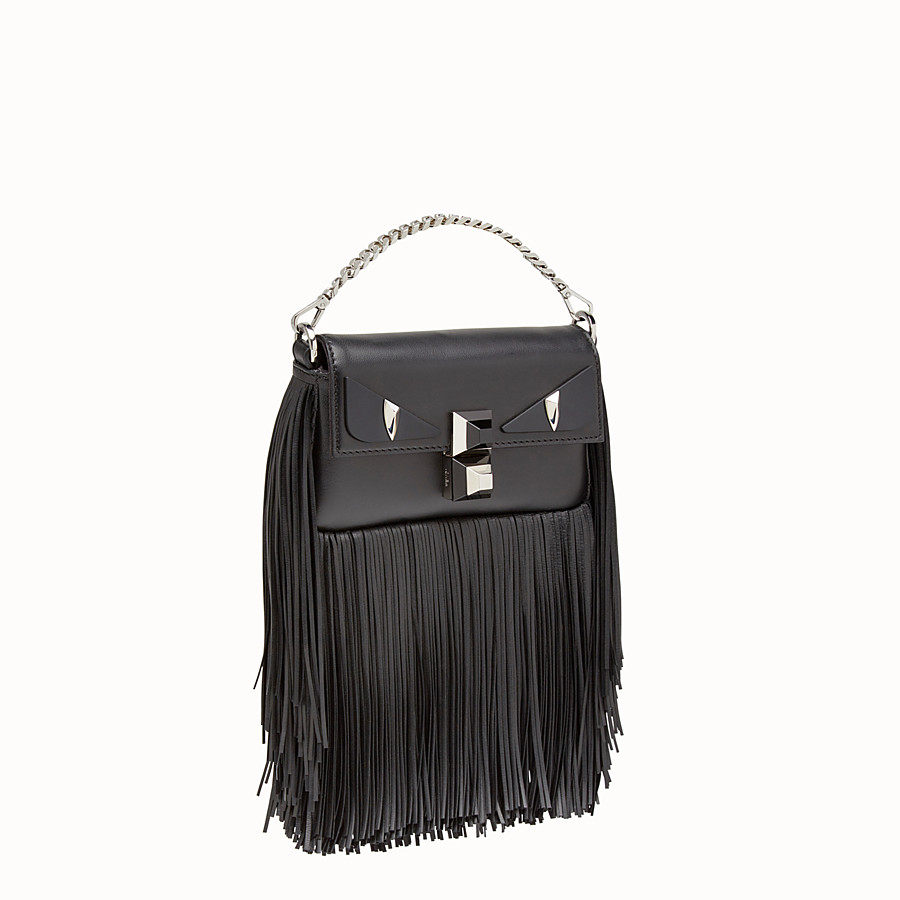 FENDI MICRO BAGUETTE - Black nappa micro-bag with fringe - view 2 detail