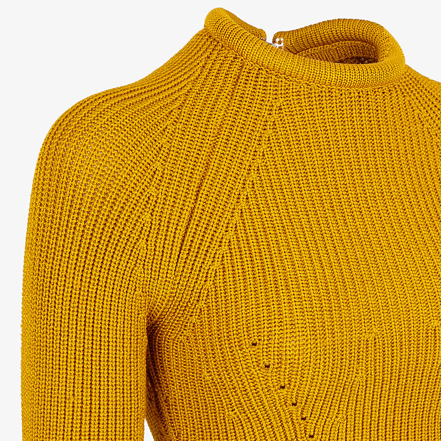 FENDI JUMPER - Yellow silk pullover - view 3 detail