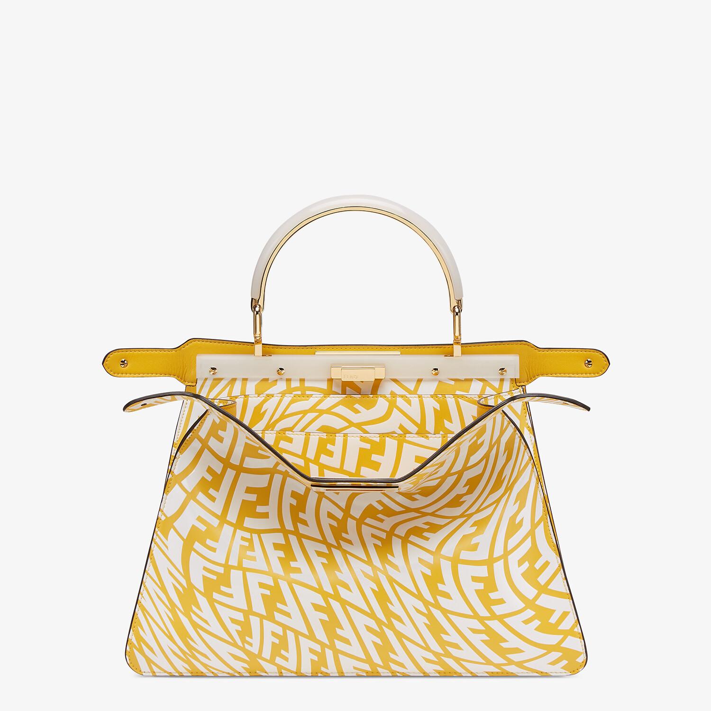 FENDI PEEKABOO ISEEU MOYEN - Sac en cuir FF Vertigo jaune et blanc - view 3 detail