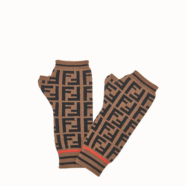 FENDI GLOVES - Sleeves in wool and brown cashmere - view 1 small thumbnail