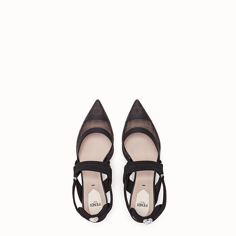 FENDI SLINGBACK - Colibrì in mesh and black leather - view 4 detail