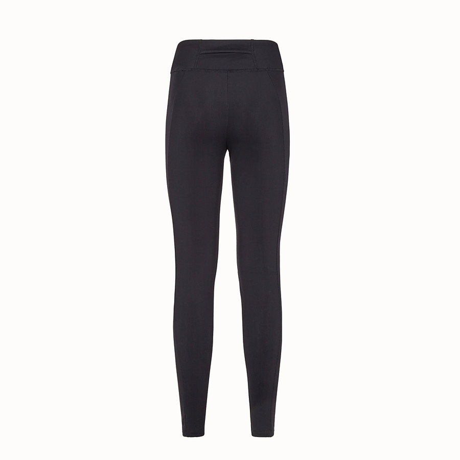 FENDI TROUSERS - Black tech jersey leggings - view 2 detail