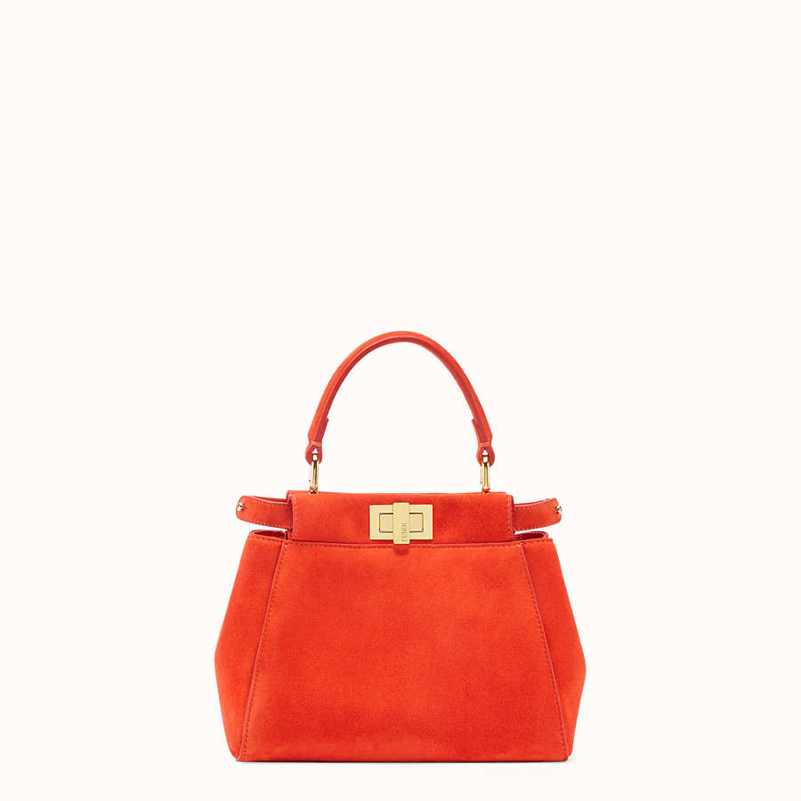 FENDI PEEKABOO XS - Mini-Tasche aus Veloursleder in Rot - view 1 detail
