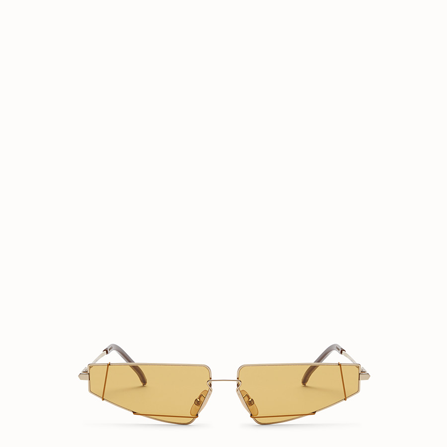 FENDI FENDIFIEND - S/S19 Fashion Show gold and brown sunglasses - view 1 detail