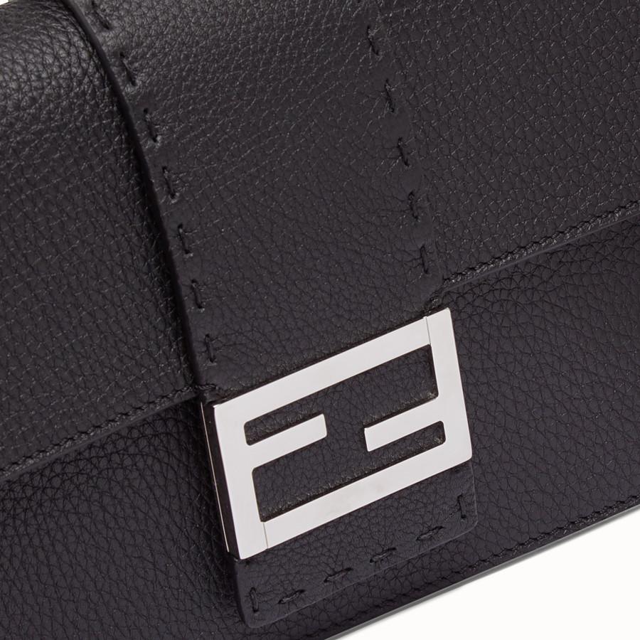 FENDI STANDING CLUTCH - Black calf leather pochette - view 4 detail