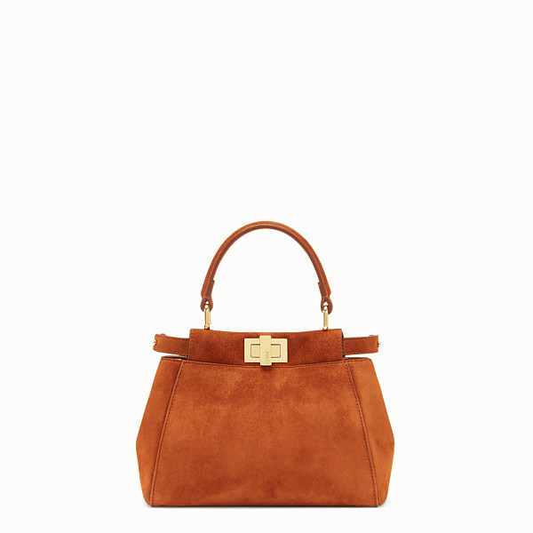 FENDI PEEKABOO XS - Brown suede minibag - view 1 small thumbnail
