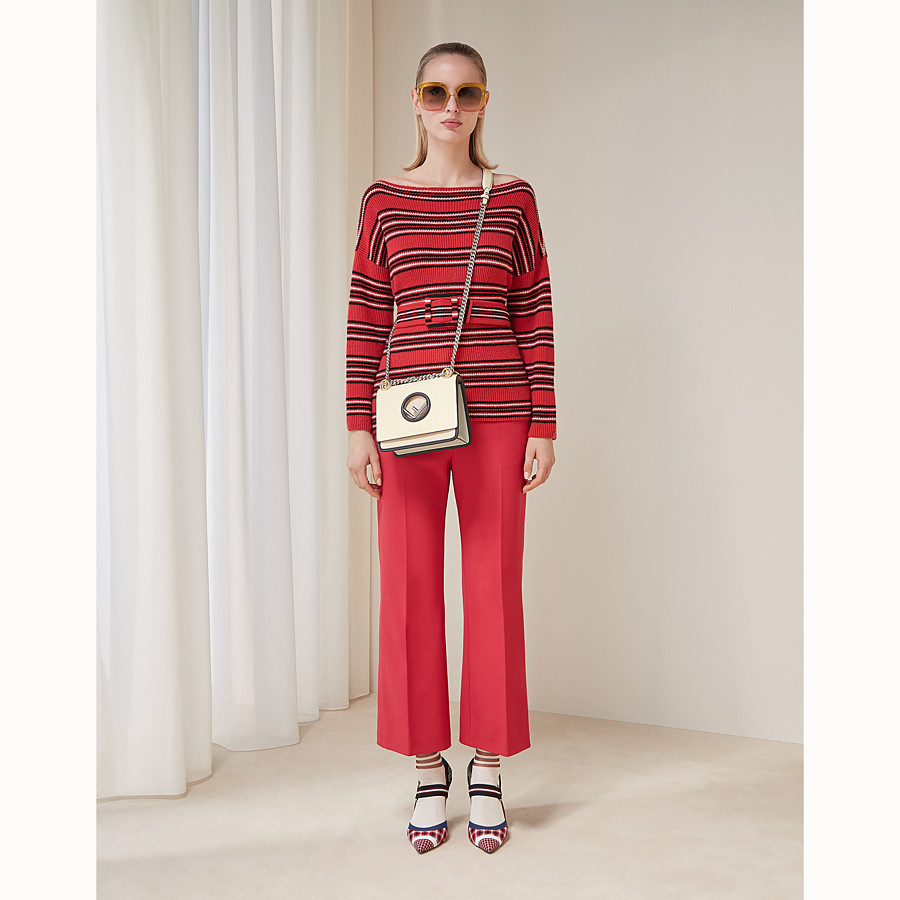 FENDI TROUSERS - Red wool trousers - view 4 detail