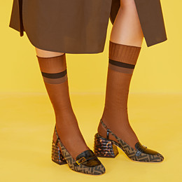 FENDI SLINGBACKS - Brown fabric Promenades - view 5 thumbnail