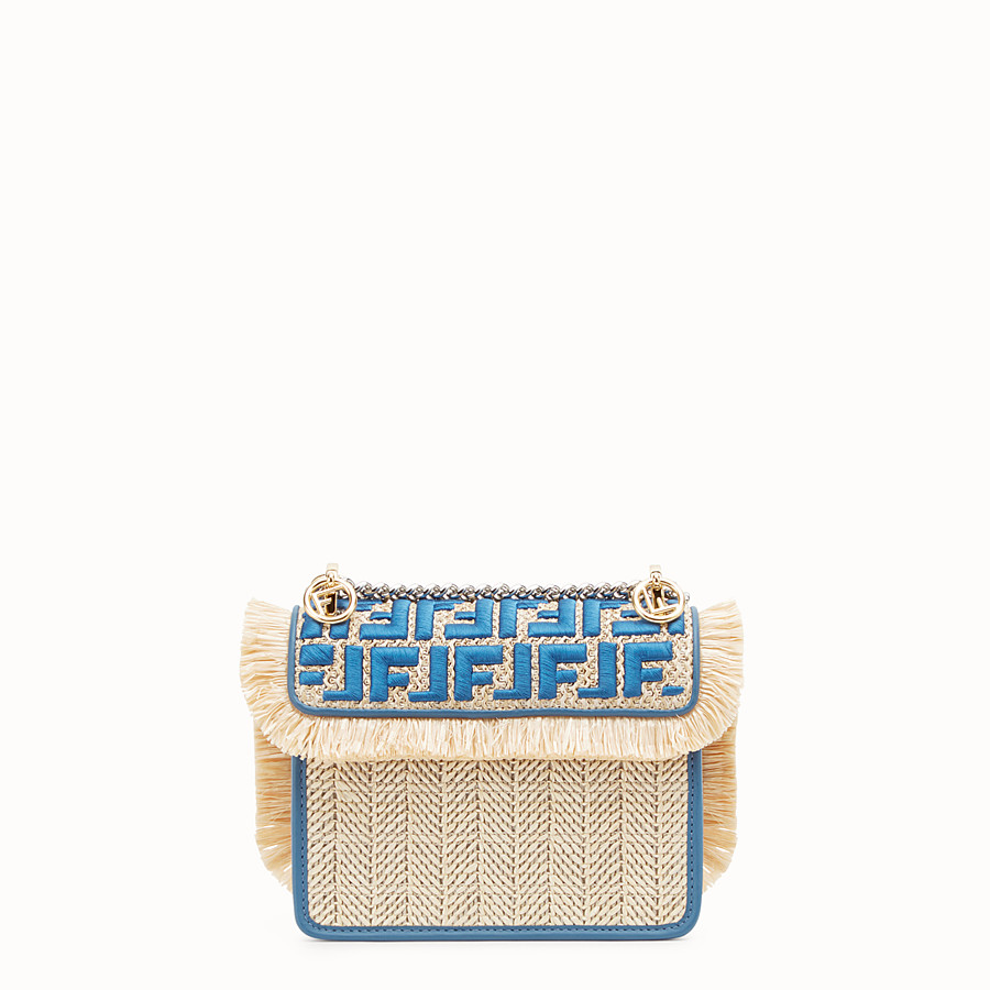 FENDI KAN I F SMALL - Raffia and blue leather mini-bag - view 3 detail