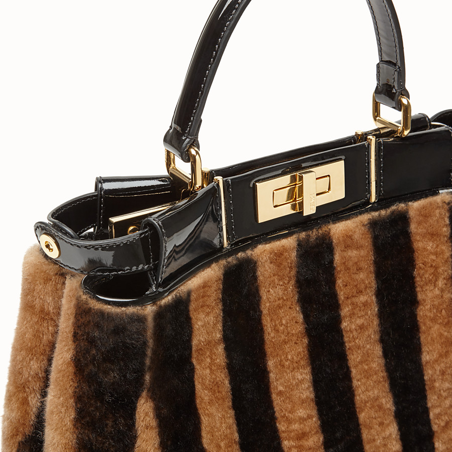 FENDI PEEKABOO ICONIC MEDIUM - Multicolour sheepskin and vinyl bag - view 7 detail