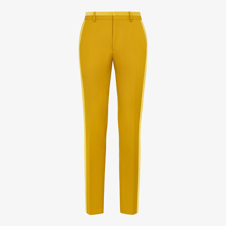 FENDI PANTS - Yellow wool pants - view 1 detail