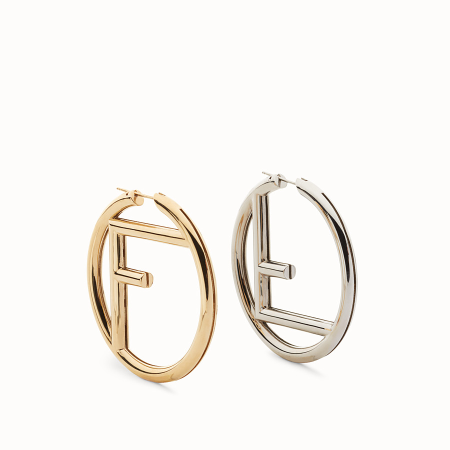 FENDI BOUCLES D'OREILLE F IS FENDI - Boucles d'oreilles or et palladium - view 1 detail