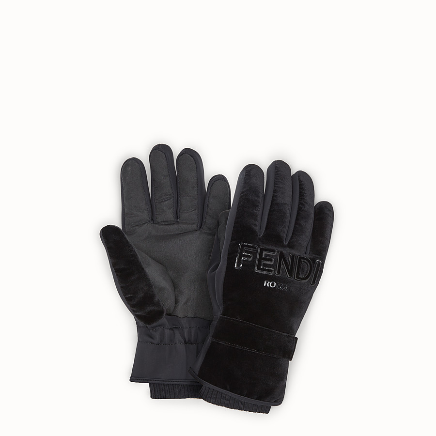 FENDI GLOVES - Black tech fabric gloves - view 1 detail