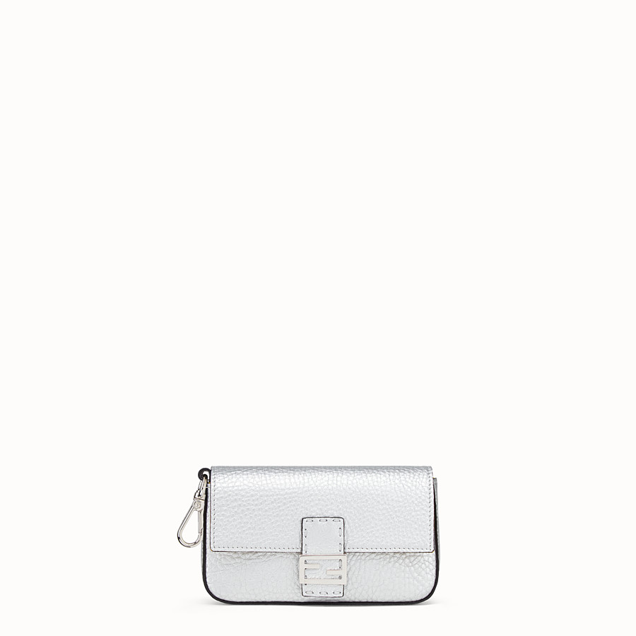 FENDI MICRO BAGUETTE - Silver leather micro-bag - view 1 detail
