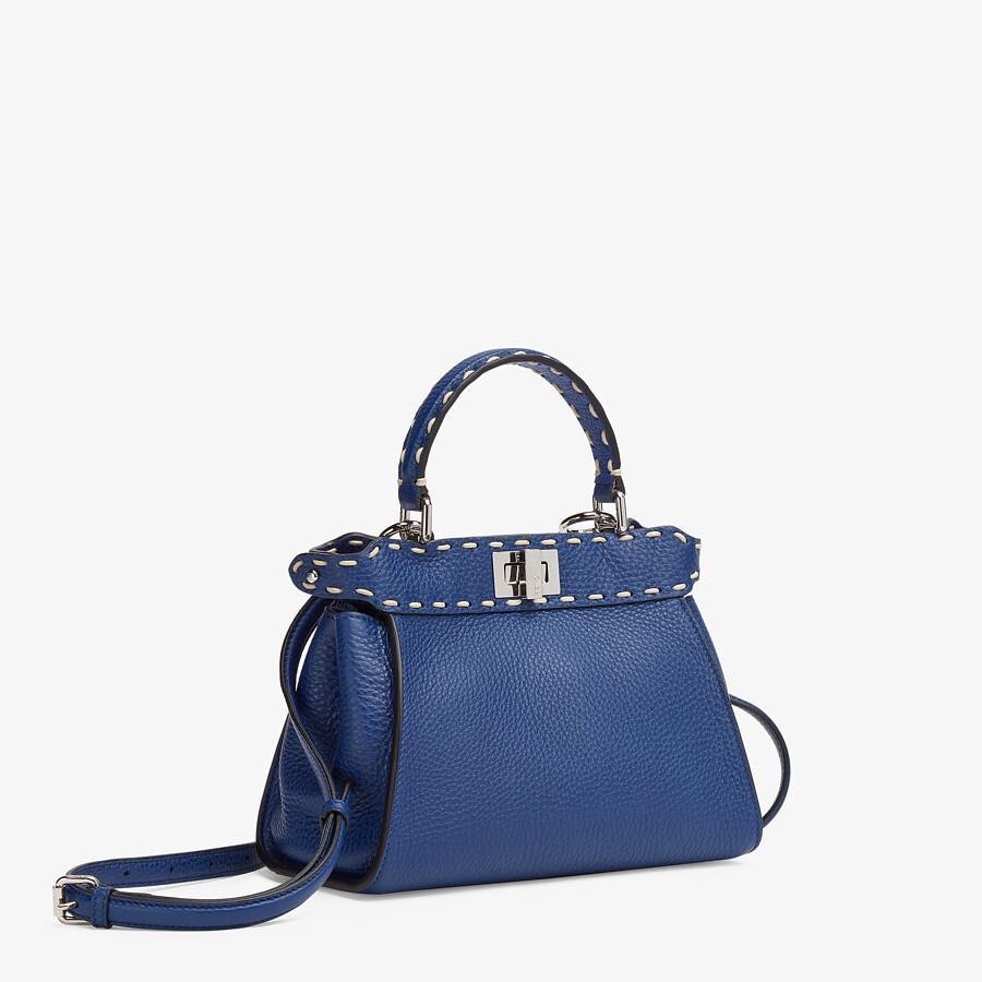 FENDI PEEKABOO ICONIC MINI - Blue full grain leather bag - view 2 detail