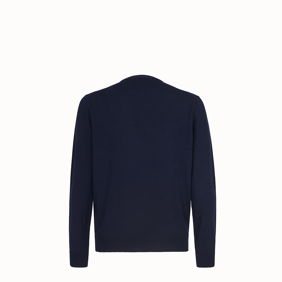 FENDI PULLOVER - Blue wool jumper - view 2 detail