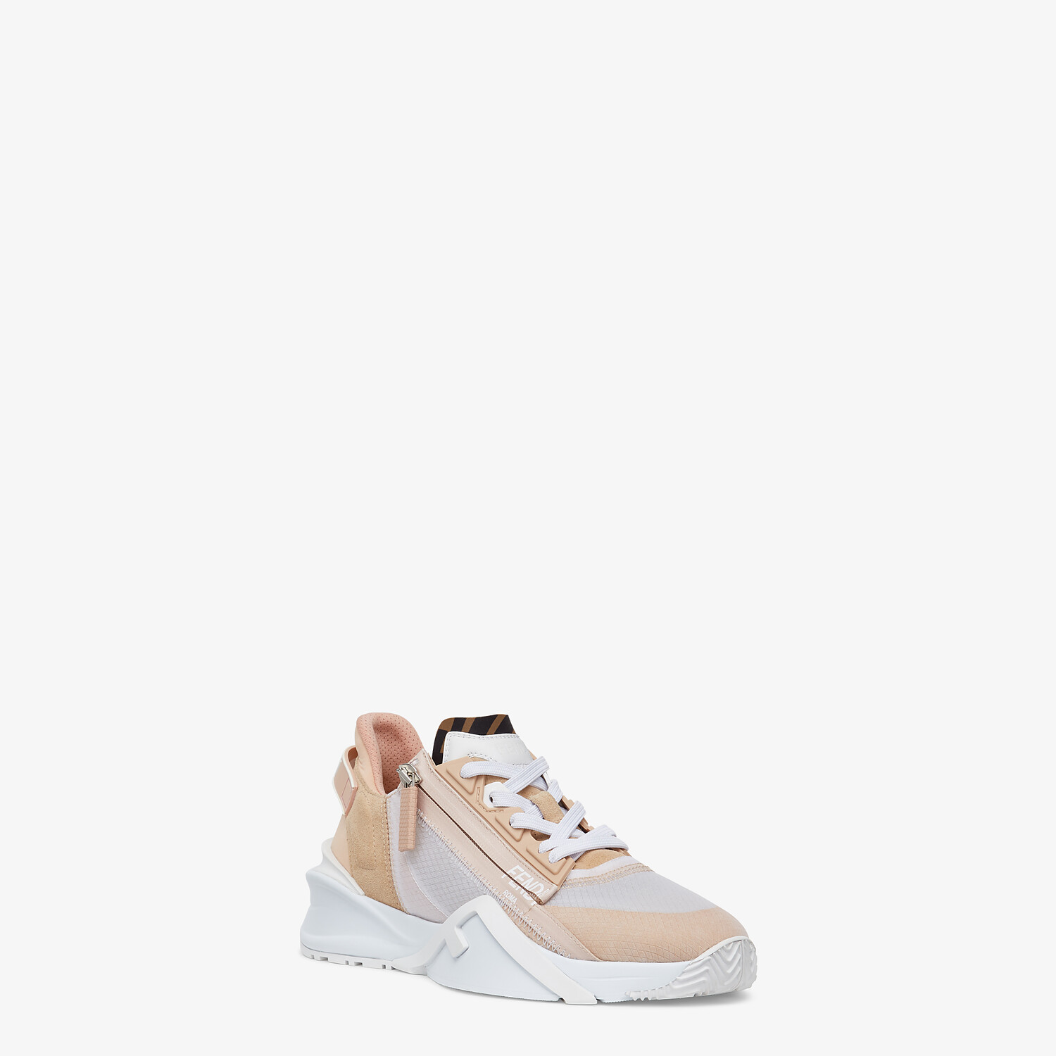 FENDI FENDI FLOW - Low top in pink nylon and suede - view 2 detail