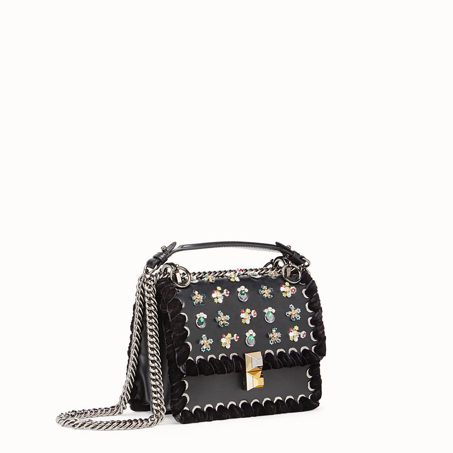 FENDI KAN I SMALL - Black leather mini bag with rhinestones - view 2 detail