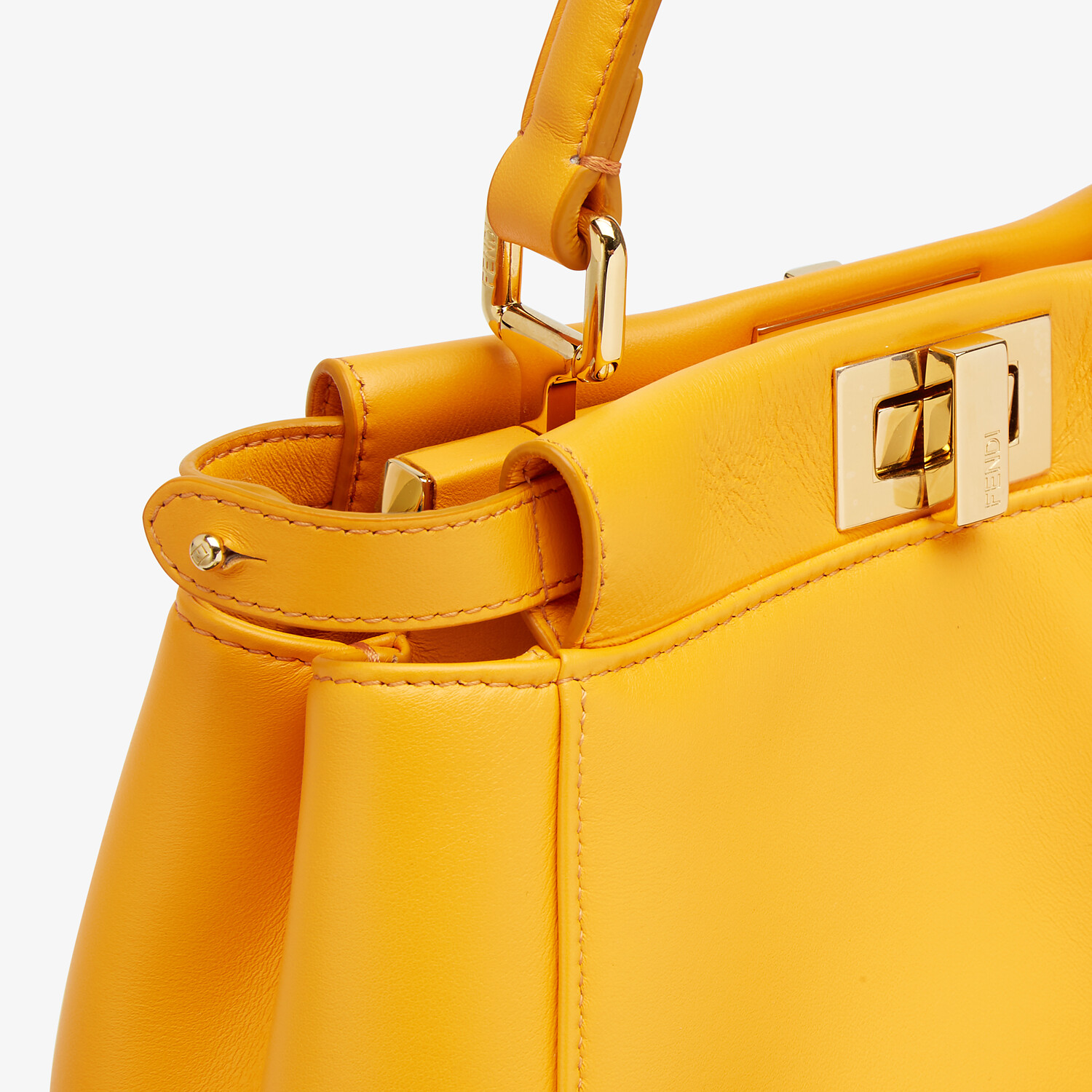 FENDI PEEKABOO ICONIC MINI - Orange nappa leather bag - view 6 detail