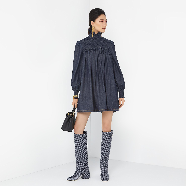 FENDI PROMENADES - Grey Vichy fabric boots - view 5 detail