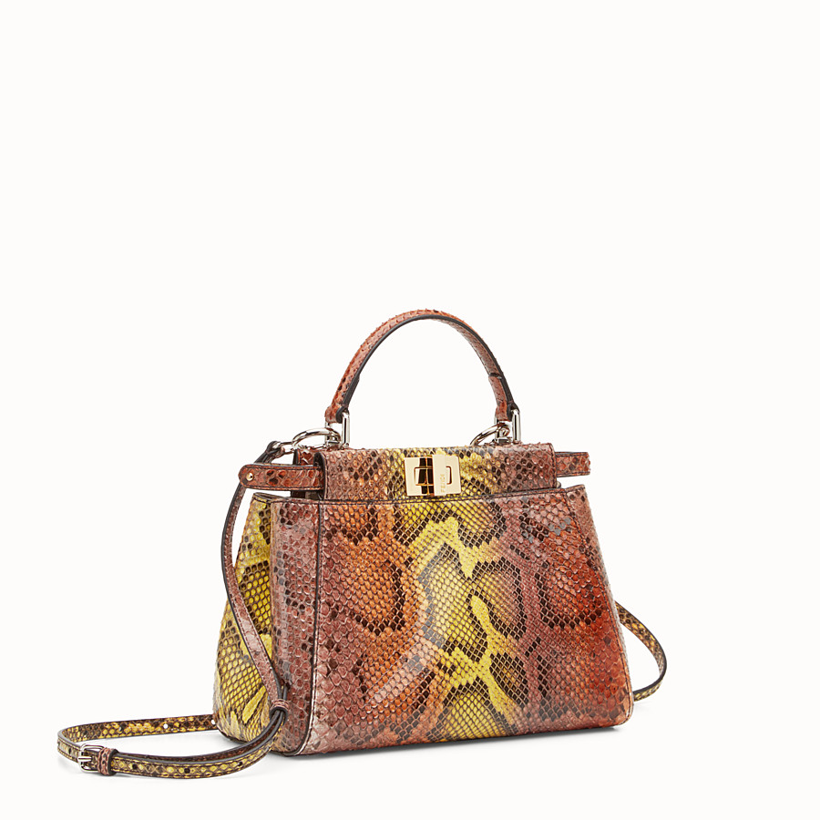 FENDI PEEKABOO MINI - Brown python handbag. - view 2 detail