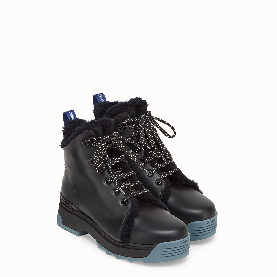 FENDI BOOTS - Black leather and sheepskin ankle boots - view 4 detail