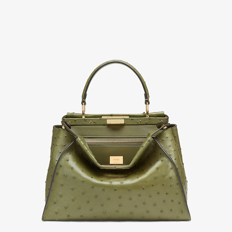 FENDI PEEKABOO ICONIC MEDIUM - Green ostrich leather bag - view 1 detail