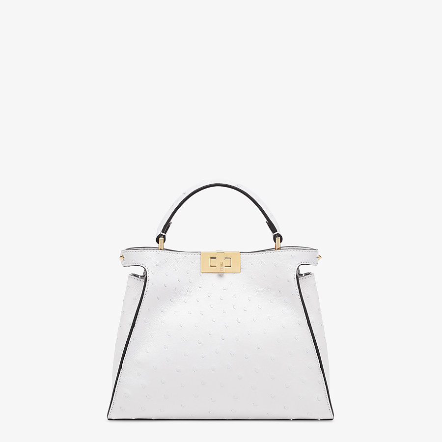 FENDI PEEKABOO ICONIC ESSENTIALLY - White ostrich leather bag - view 1 detail