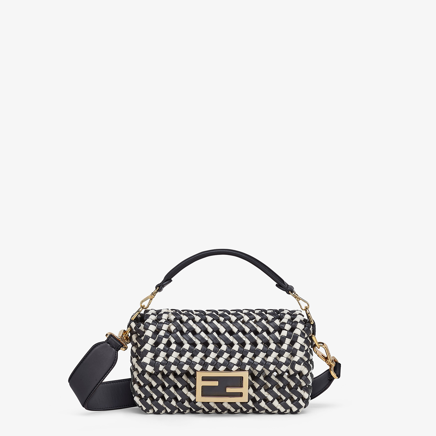 FENDI BAGUETTE - Leather and canvas interlace bag - view 1 detail