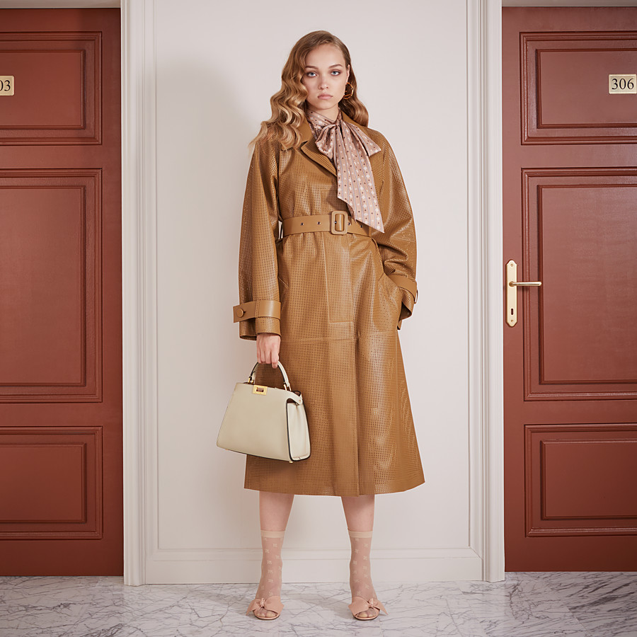 FENDI OVERCOAT - Brown leather trench coat - view 4 detail