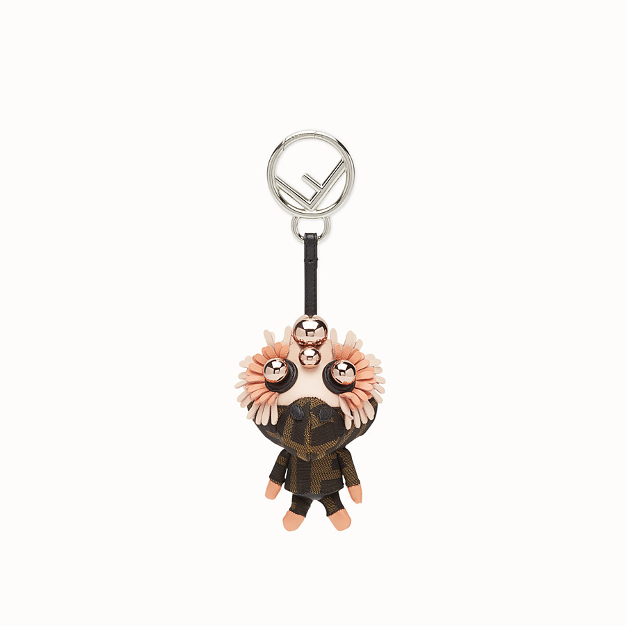 FENDI SPACE MONKEY - Multicolour leather and jacquard charm - view 2 detail