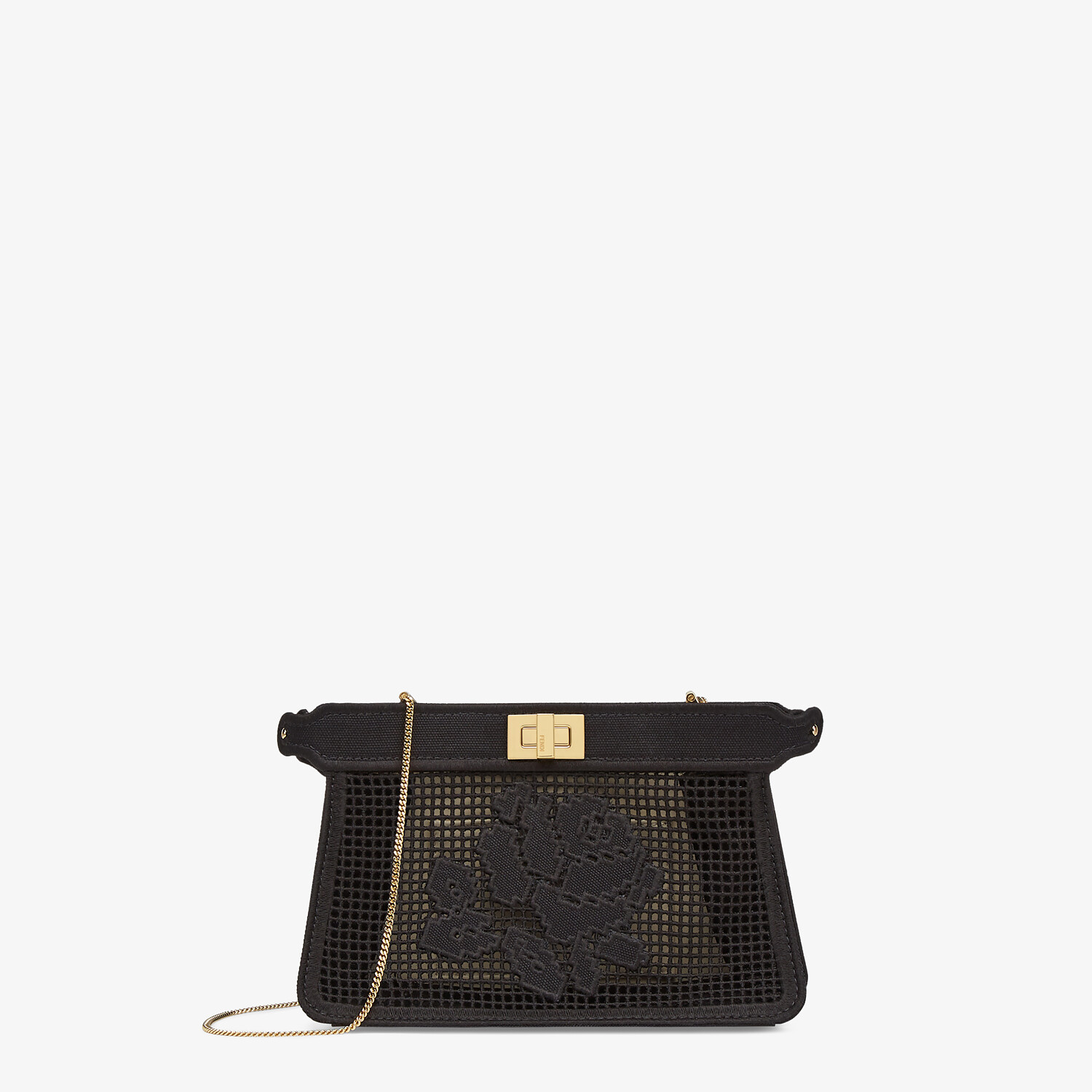 FENDI PEEKABOO ISEEU POCHETTE - Black canvas bag with embroidery - view 1 detail