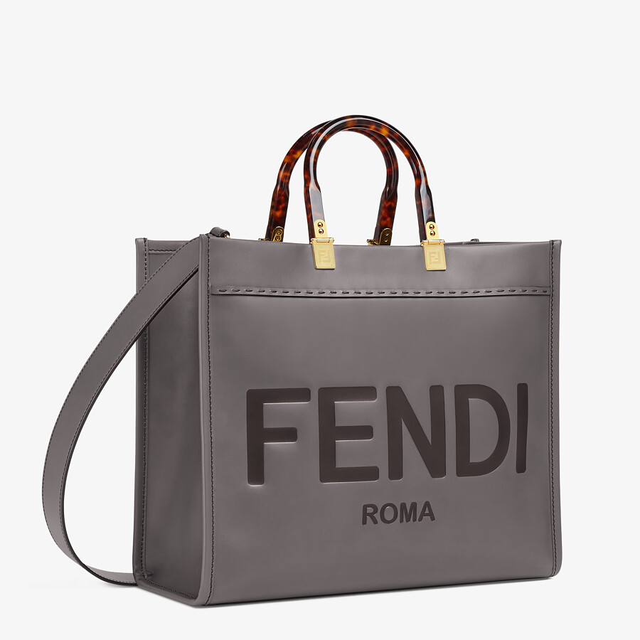 FENDI FENDI SUNSHINE MEDIUM - gray leather shopper - view 2 detail