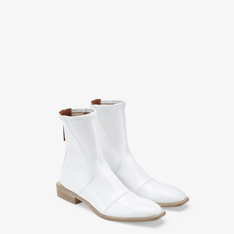 FENDI FFRAME - White glossy neoprene ankle boots - view 4 detail