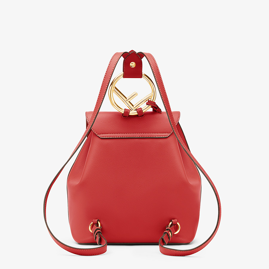 FENDI BACKPACK - Red leather backpack - view 4 detail