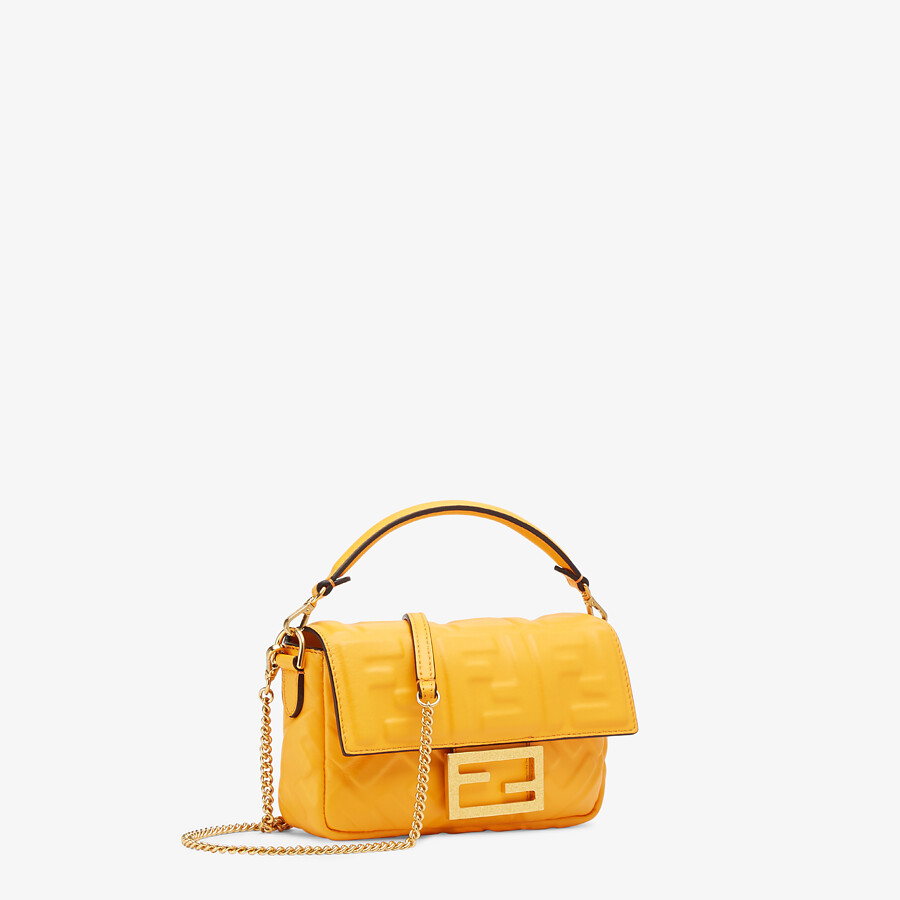 FENDI BAGUETTE - Orange nappa leather bag featuring the FF motif - view 3 detail