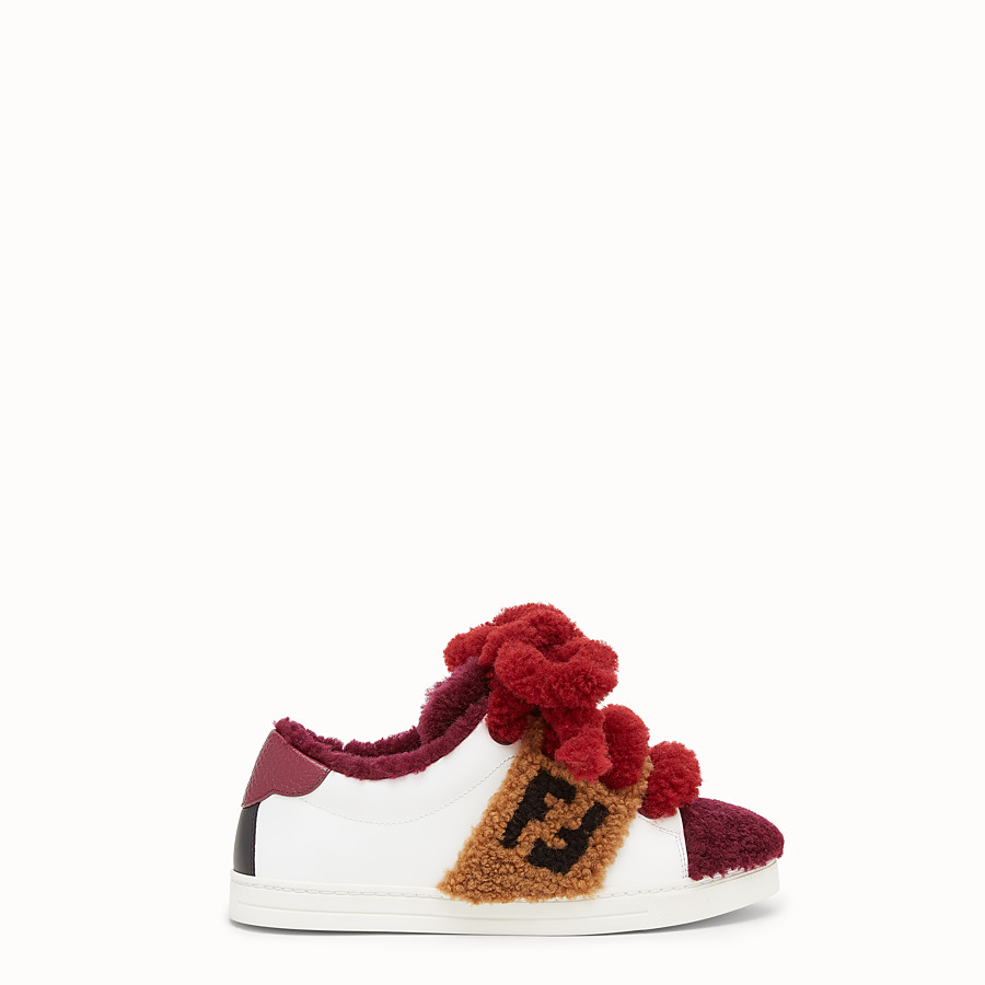 FENDI SNEAKERS - Multicolour leather and sheepskin sneakers - view 1 detail
