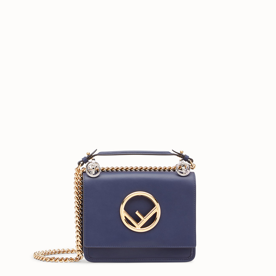 FENDI KAN I F SMALL - Blue leather mini-bag - view 1 detail
