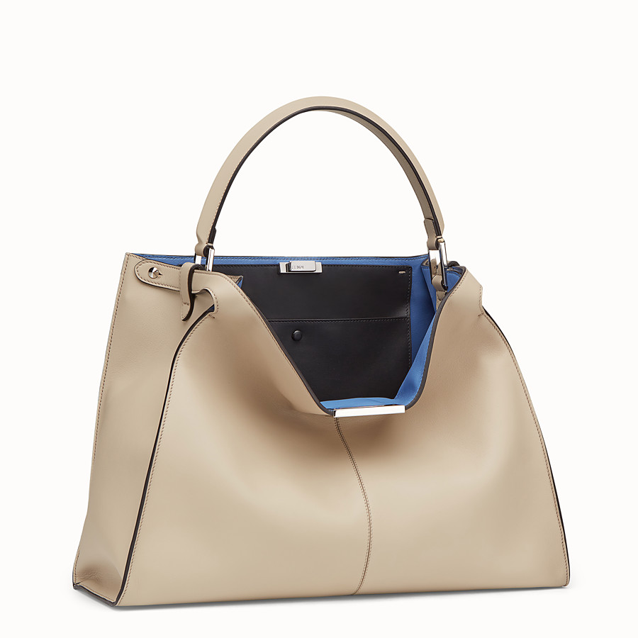 FENDI PEEKABOO X-LITE LARGE - Beige leather bag - view 3 detail