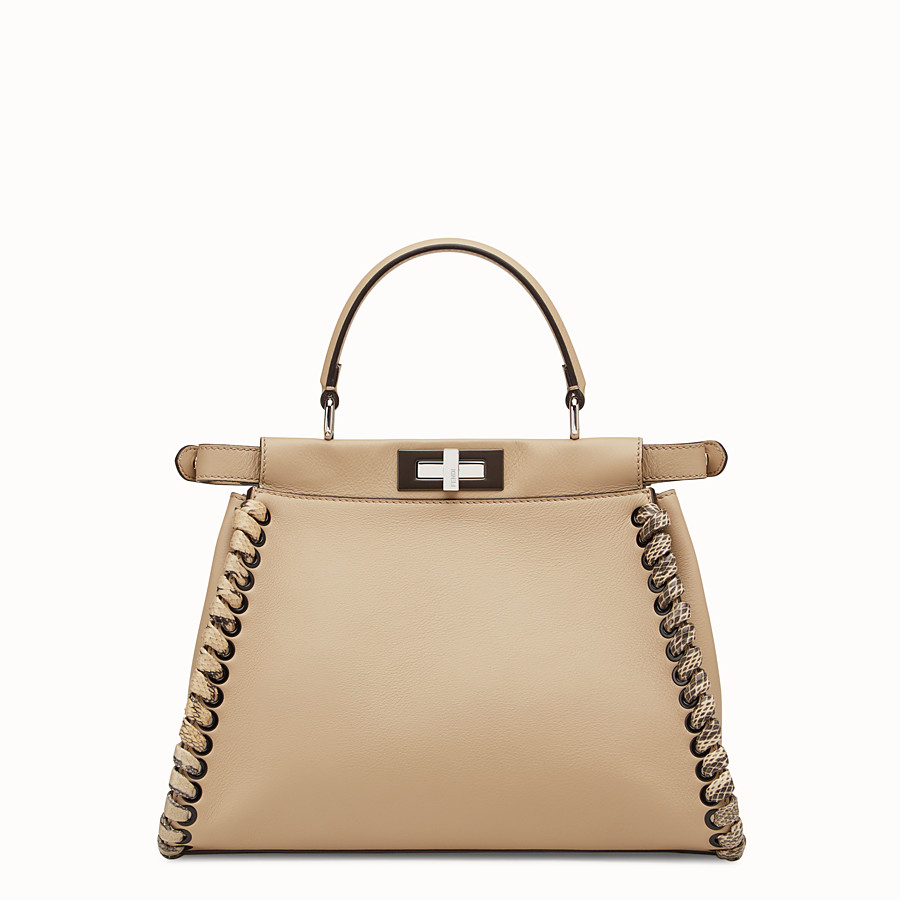 FENDI PEEKABOO REGULAR - Beige leather bag with exotic details - view 3 detail