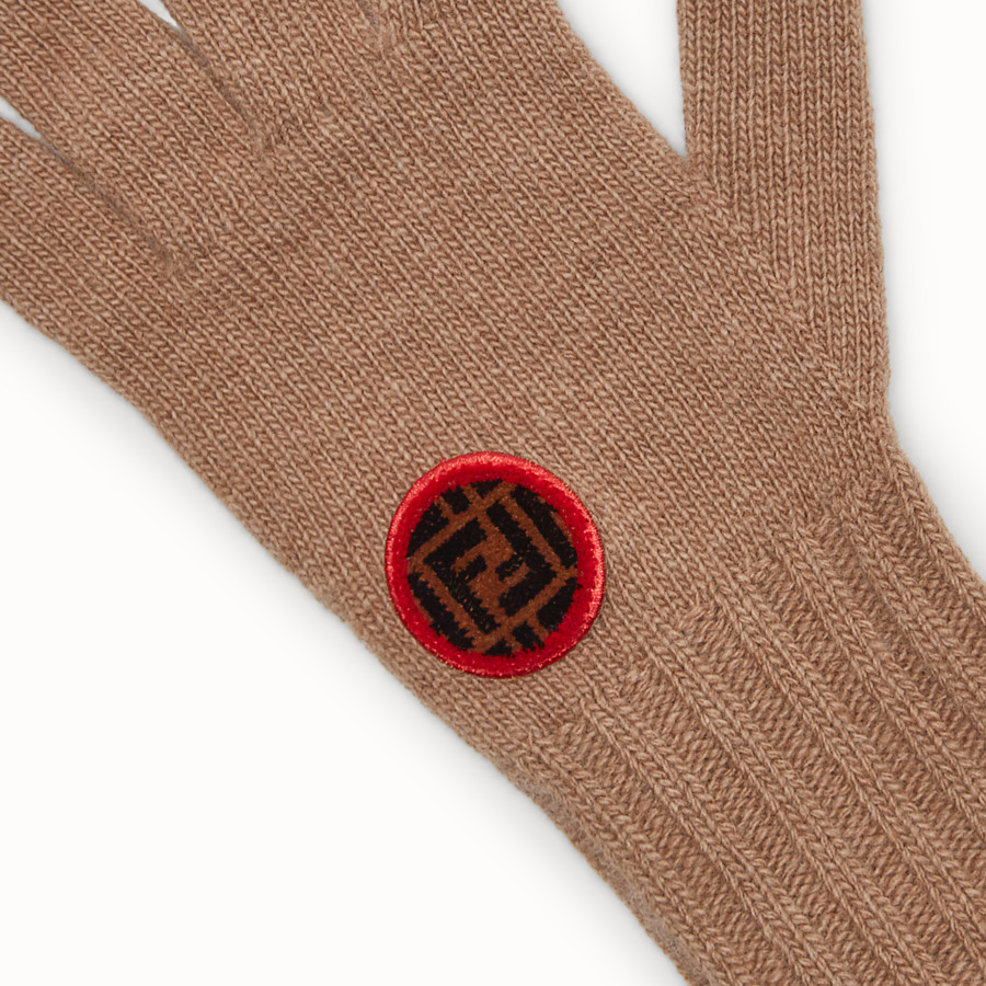 FENDI GLOVES - Beige wool and cashmere gloves - view 2 detail