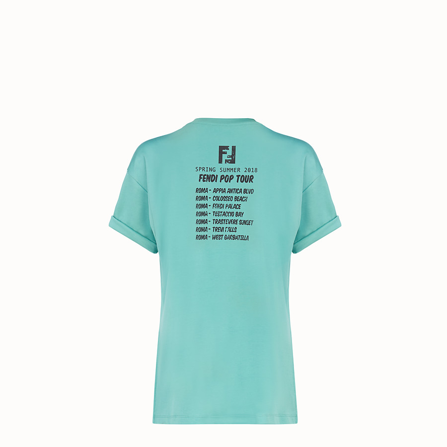 FENDI T-SHIRT - Light blue cotton T-shirt - view 4 detail